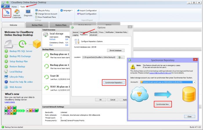 Synchronize-repository-amazon-s3-cloudberry-backup